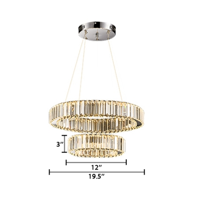 2 Tiers Carousel LED Chandelier Contemporary Crystal LED Suspended Light in Warm/White
