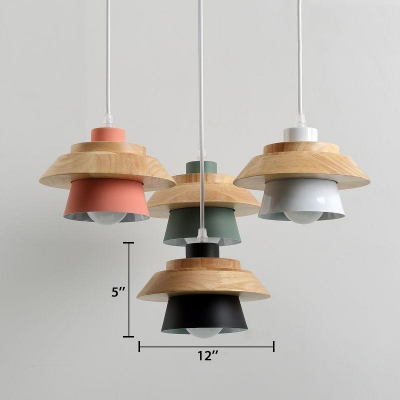 4 Light Cluster Hanging Light Designers Style Wood Suspended Lamp for Dining Room
