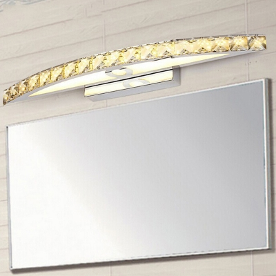 Champagne Crystal Wall Mount Light Modern Fashion Stainless Mirror Light for Bathroom