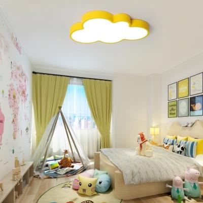 Children Bedroom Cloud Flush Light Modern Acrylic LED Flush Ceiling Light in Blue/Green/Pink/Yellow