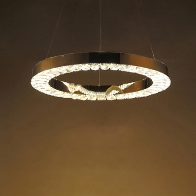 Chrome 1 Tiered Ring Suspension Light Modern Fashion Crystal LED Hanging Chandelier