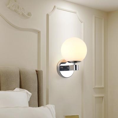 Chrome Finish Spherical Sconce Light Contemporary White Glass 1 Light Wall Lighting for Foyer