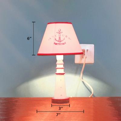 Cone Shade Table Light with Resin Lighthouse Base Mediterranean Girls Room 1 Light Reading Light in White
