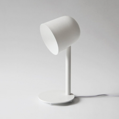 Contemporary Dome Table Light Metal 1 Light Wire Powered Desk Lamp in White for Office