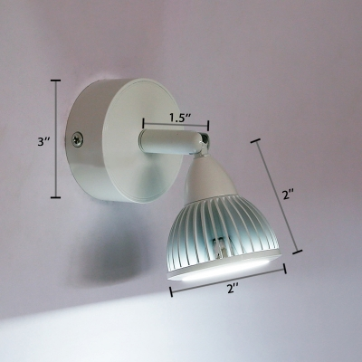 Dome Mini Picture Light Modern Adjustable Metallic Single Light LED Wall Sconce in White for Cabinet