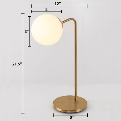 Globe Shade Table Lamp Simplicity White Glass Desk Light with Metal Base for Study Room