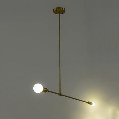Gold Dumbbell Suspended Lamp Modernism Metallic 2 Heads Chandelier for Living Room