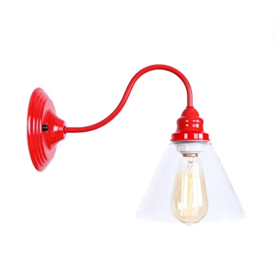 Gooseneck Wall Light Fixture with Glass Shade Concise Industrial 1 Head Wall Mount Fixture in Red