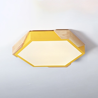 Metal Flush Light Fixture with Hexagon Shape Green/Pink/Yellow LED Flush Mount for Bedroom