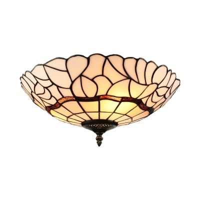 Rust Tiffany Flush Mount Light with Hollow-Out Bottom