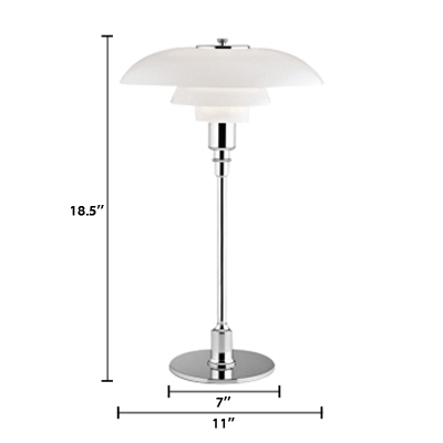 Silver Tiered Shade Desk Light Modern Design Decorative Table Lamp for Study Room