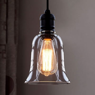 Single Light Led Mini Pendant With Clear Bell Gl Shade Beautifulhalo