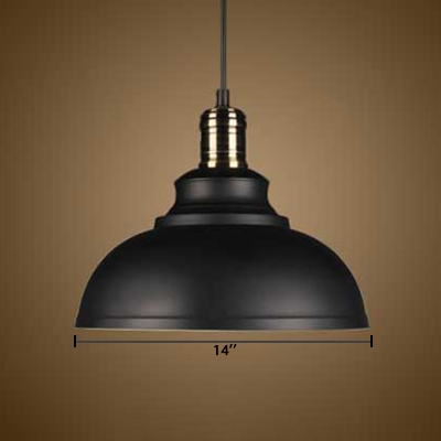 Vintage Pendant Light in Barn Style with Metal Shade, Black
