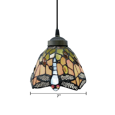 Vintage Tiffany Style Mini Pendant Light Highlights Vivid Dragonfly