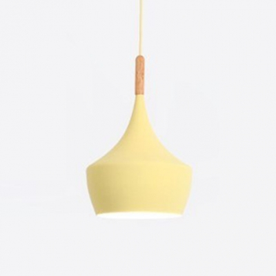 Wooden Geometric Hanging Light Macaron Nordic Single Light Suspended Lamp for Children Room