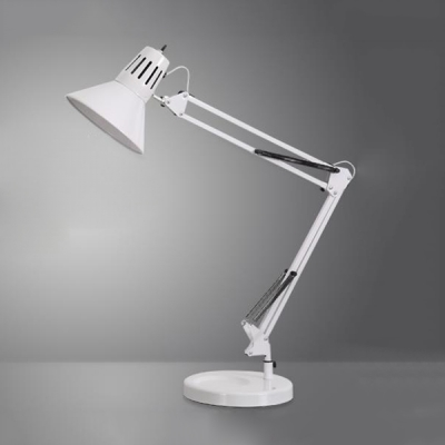 1 Light Conical Desk Lamp Simple Concise Iron Desk Lights in White with Adjustable Arm