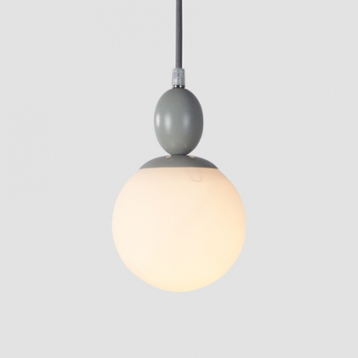 Adjustable 1 Light Globe Drop Light Nordic Style White Glass Pendant Light in Gray