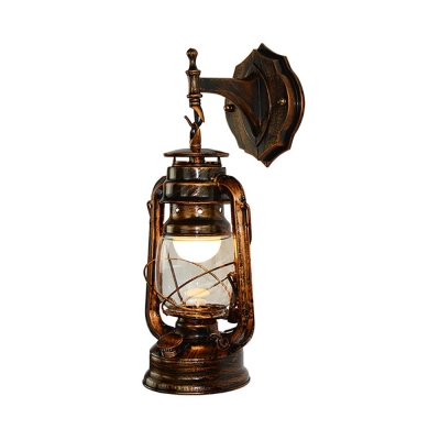 Antique Copper Lantern Sconce Light with Glass Shade Nautical Style Single Light Wall Lamp for Courtyard