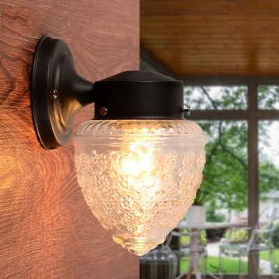 Black Armed Wall Sconce Vintage Textured Glass Single Light Wall Mount Light for Corridor Aisle
