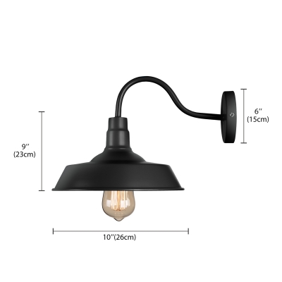 Black Barn Shade Wall Light with Gooseneck Arm for Stairs Pathway Farmhouse