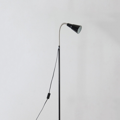 Black Finish Cone Floor Light Simplicity Adjustable Metal Single Light LED Floor Lamp