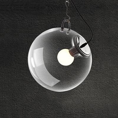 Chrome Finish Ball Suspended Light Designers Style Clear Glass Single Light Drop Light