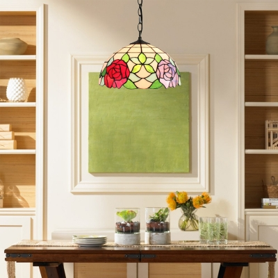 Classic Art 12''W Pendant Light Tiffany Style Floral Dome Glass Shade in Multicolor Finish