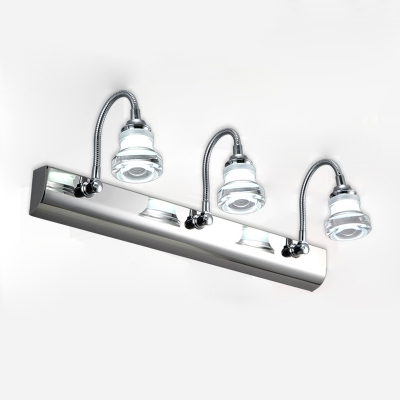 Curved Arm Cosmetic Lamp Simplicity Modern Adjustable Stainless 2/3 Bulbs Wall Light