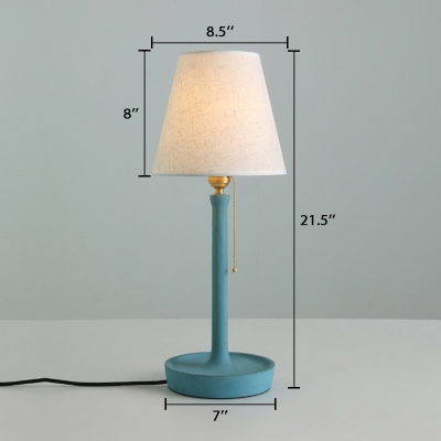 Fabric Cone Desk Light Modern Concreted Pull Chain Table Light in Blue/Green/Red for Living Room