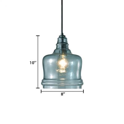 Geometric Pendant Light Designers Style Glass Single Head Drop Light in Blue for Kitchen