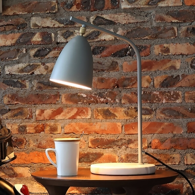 Gray Dome Shade Reading Light Modern Chic Concise 1 Light Push Switch Table Lamp for Studio