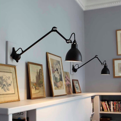 Half Round Wall Mounted Lamp Industrial Simple Steel Wall Light with Adjustable Arm