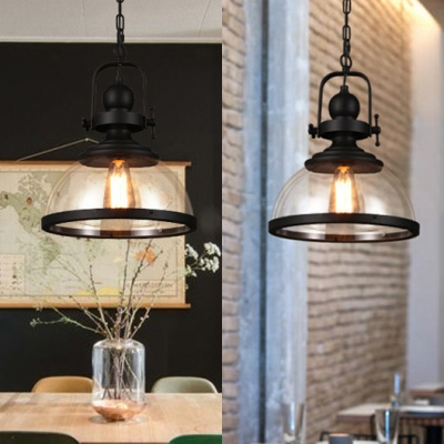 Loft Style Bowl Hanging Lamp with Glass Shade Single Head Ceiling Pendant Light in Black Finish