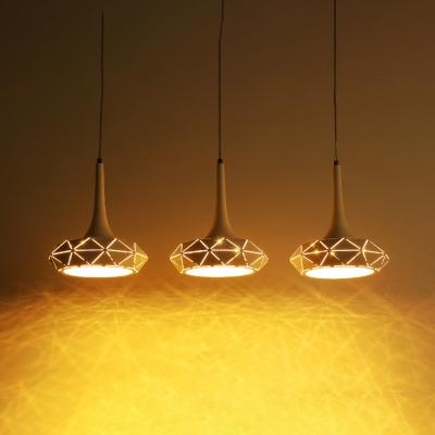 Metal Geometric Island Pendant Light Contemporary Lighting Fixture 3 Head Led Hanging Lights