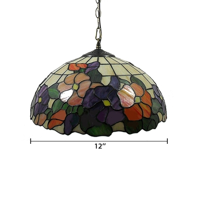 Purple and Red Flower Theme 16 Inch Downward Tiffany Hanging Pendant Lighting