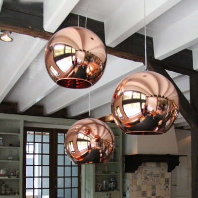Rose Gold Mirror Ball Pendant Lamp Minimalist Simple Electroplate Glass 1 Light Drop Light Beautifulhalo Com