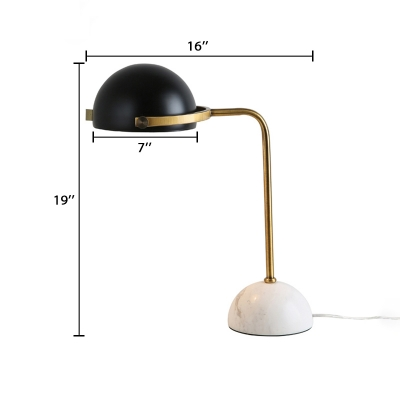 Rotatable Dome Table Light Industrial Modern Metal LED Desk Light with Marble Base