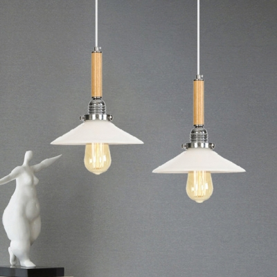 Scalloped/Flared Hanging Light Contemporary Wooden 1 Light Drop Ceiling Lighting in Chrome