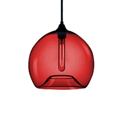 Scarlet Red Jug Hanging Light Modern Design Glass 1 Bulb Pendant Light for Hallway