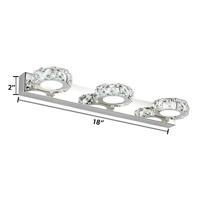 Stainless Crystal Vanity Light Contemporary 1/2/3/4 Lights LED Makeup Mirror Light