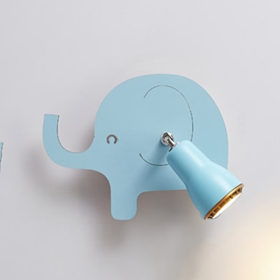 Wooden LED Sconce Light with Pink Whale/Blue Elephant Rotatable Wall Light Fixture for Kids Children
