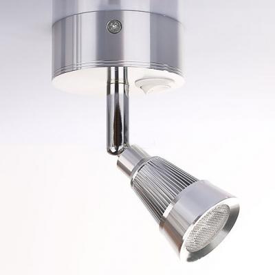 1 Light Cone Shape Mini Spot Light Contemporary Rotatable Acrylic LED Wall Lighting in Chrome