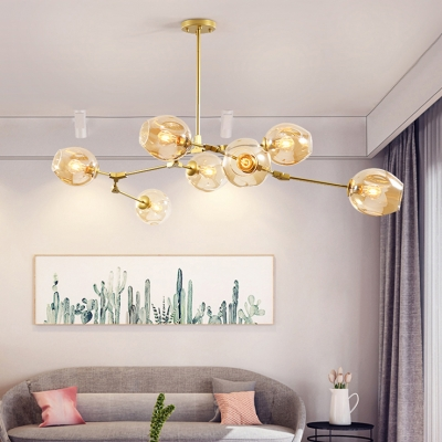 7 Light Branching Chandelier Designers Style Cognac Glass Ceiling Lamp in Gold for Studio