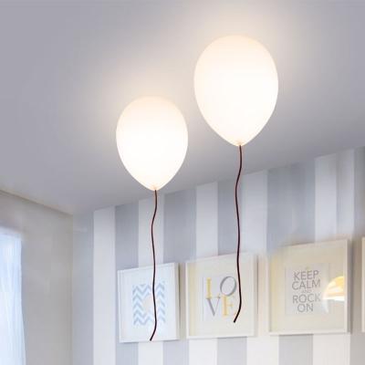 Balloon Flush Light Fixtures Stylish Milky Glass 1 Light Ceiling Light for Children Room