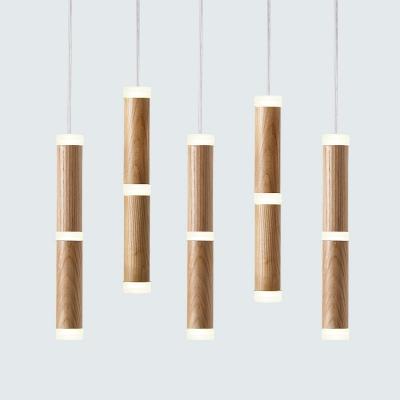Bamboo Shape Hanging Lamp Contemporary Wood Multi Light Decorative