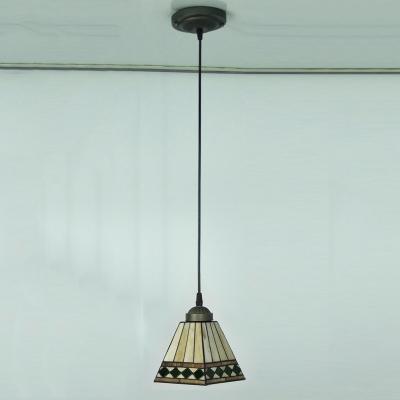 Black Finished Stained Glass 8 Inch Tiffany Single-light Mini Pendant Lighting