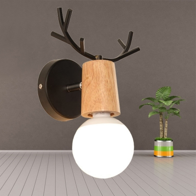 Black/White Antler Sconce Light Nordic Style Wood Single Head Wall Mount Light for Children Room