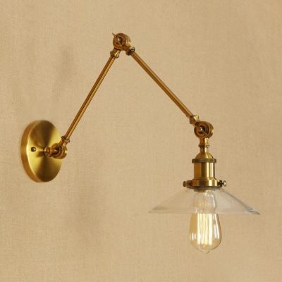 Brass Finish Swing Arm Wall Light with Glass Shade Retro Style Metal 1 Bulb Art Deco Wall Lamp, HL498841