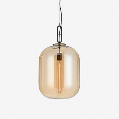 Cognac Cylinder Hanging Light Concise Modern Closed Glass 1 Bulb Decorative Pendant Lamp