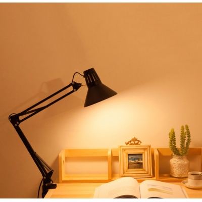 Cone Reading Lamp Contemporary Adjustable Metallic 1 Bulb Desk Lighting in Black for Bedroom